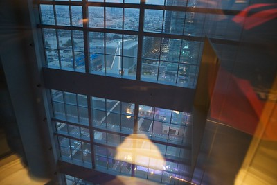 View from glass elevator in hotel