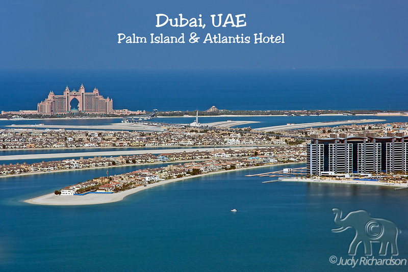 Atlantis Hotel and Palm Island as view from the Marriott Observatory.