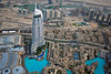 View from the top of The Burj Khalifa looking at The Address Hotel & Residence. The Dubai Mall is to the left.