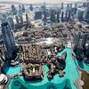 View of Dubai and the Dubai Mall from the 124th floor of the Burj Khalifa - the world's tallest building (2722 feet - 163 floors).  Dubai, United Arab Emirates.
