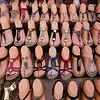 Sandals at the Murshid Bazaar, part of Diera Souk, the oldest trading area of Dubai.  Dubai, United Arab Emirates.
