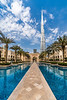 The Palace Hotel and reflective pool with the Burj Khalifa in downtown Dubai, UAE, Middle East.
