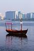 A dow boat in Dubai Creek, Dubai, UAE.