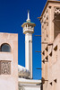 The minaret of the Grand Mosque in the Bastakiah quarter of Dubai Creek in Dubai, UAE, Persian Gulf.