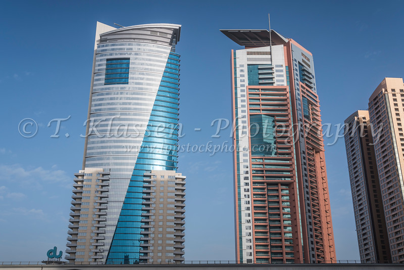 Tall buildings in the Al Barsha district of Dubai, UAE, Middle East.