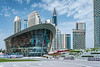 An exterior view of the Dubai Opera building in Burj Park in downtown Dubai, UAE, Middle East.