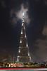 The Burj al Khalifa illuminated at night in Dubai, UAE.