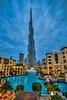 The Burj Khalifa illumkinated at night in downtown Dubai, UAE, Middle East.