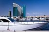 The Festival City marina with the Intercontinental Hotel in Dubai, UAE, Persian Gulf.
