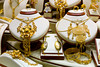 Closeup view of jewellery displayed in window boxes at the Gold Souq in Dubai, UAE.