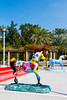 Decorative colorful horses at Jumeirah Beach Park in Dubai, UAE.