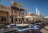 The Madinat Jumeirah facilities with the white Burj Al Arab in Dubai, UAE, Middle East.
