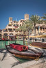 A canal waterway in the Madinat Jumeirah souk, Dubai, UAE, Middle East.
