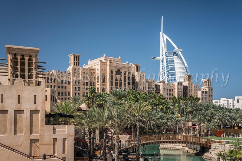 The Madinat Jumeirah facilities with the white Burj Al Arab in Dubai, UAE, Middle East.