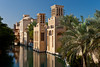 The wind tower architecture of the Madinat Jumeirah souq market in dubai, UAE.