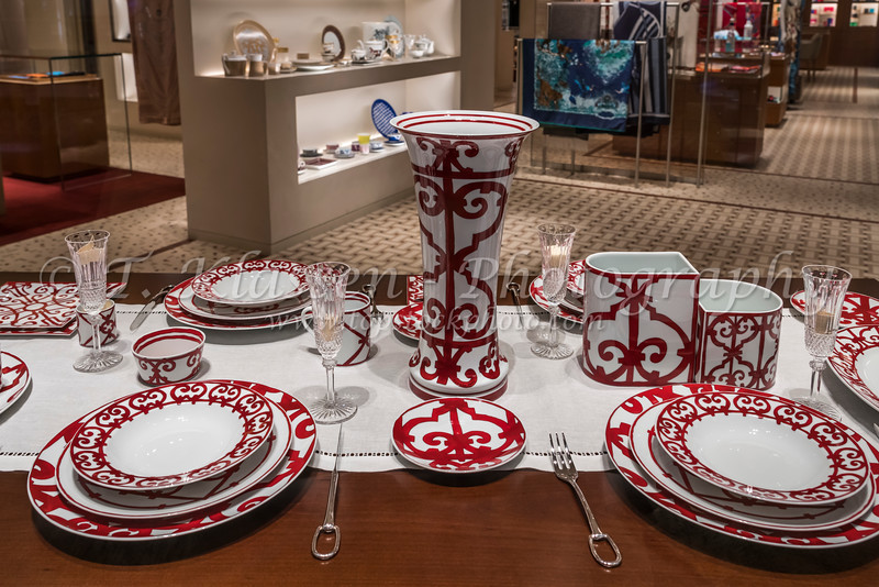 A table setting in a store in the Mall of the Emirates, Dubai, UAE, Middle East.