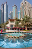A colorful fountain in the Marina district of Dubai, UAE, Persian Gulf.