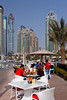 An outdoor restaurant in the Marina district of Dubai, UAE, Persian Gulf.