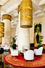 The interior of the Raffles Dubai Hotel in Dubai, UAE.