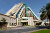 The pyramid shaped Raffles Dubai Hotel in Dubai, UAE.