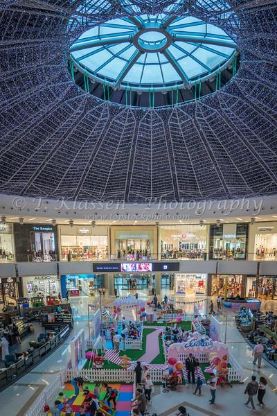 The decorative dome of the Marina Mall interior in Dubai, UAE, Middle East.