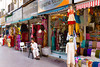 Clothing and textile shops in the markets of Dubai, UAE.