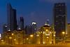 The Dubai city skyline near the Dubai Mall at night, UAE.