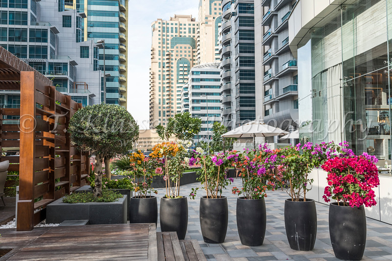 An outdoor restaurant in the Al Barsha district of Dubai, UAE, Middle East.