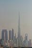 The Dubai city skyline from the port of Dubai, UAE.
