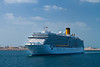 The Costa Luminosa cruise ship entering Dubai harbour, UAE.