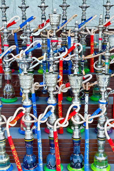 A collection of water pipes in a market in old Dubai, UAE.