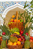 A fruit display at an outdoor restaurant in the Wafi shopping center in Dubai, UAE.
