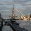 Jeanie Johnston Tall Ship in front of the Samuel Beckett Bridge