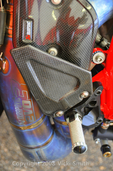 That's the beautiful exhaust on Larry's racer