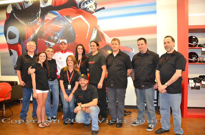 Ducati Austin Staff get a photo opp to of course!