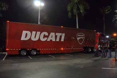 And the Duc Truck packed up and prepared to Fly South to Ducati Miami for demo rides (don't forget, big day there Saturday, May 1st!!)