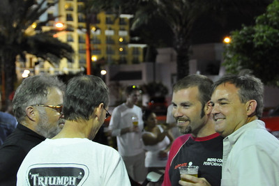 My favorite thing about this night was how many new faces were in the crowd. There were SO many new people. And that guys like these (from left, Henry Robinson, Chris Boy, Paul Christian, Steve Sealey) who were some of the original Ducatista in South Florida and all date back to the original Ducati dealer here, Action Sports Cycles, are still around, remain friends and are still riding Ducati's. (well, Steve showed up on a Yamaha wearing a Triumph shirt but I know his heart is with us) :-)
