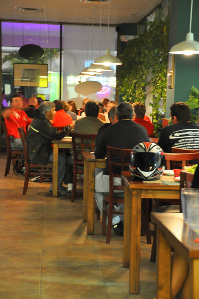 The resturant was full, inside and out with Ducatista