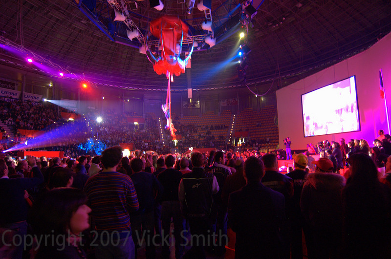 The entertainment high (literally) was this amazing Cirque d'Soleil style ballet involving floor to ceiling ribbons, a giant globe and a MotoGP bike. Really.