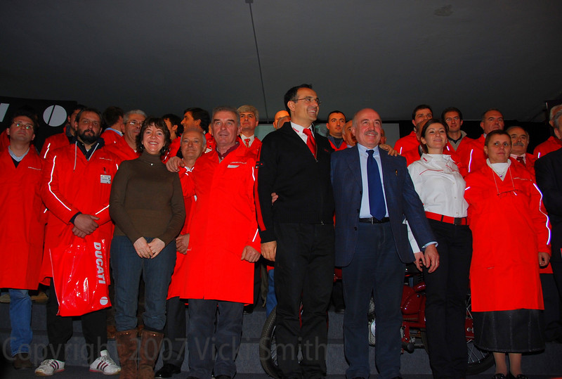 And found myself suddenly in the presentation, honored for my support in the USA of the historical Ducati's as well as my many Motogiro d'Italia's compititions (and being the first woman on the Motogiro). I think I should have worn red.