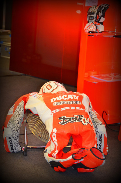 Inside it's a sea of tranquility.  No bike pics allowed because the bodywork is off and they are fully exposed, but the team is hard at work, Dovi's leathers are drying on a fan and all in all it feels like a a team no longer making excuses for problems they can't solve.