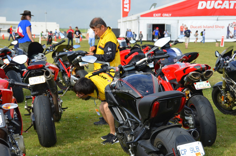 Ducati fans weren't the only ones interested in the bike show.  Those Dunlop engineers were making notes of what tires people were buying.  Ducati market share these days is worth the research