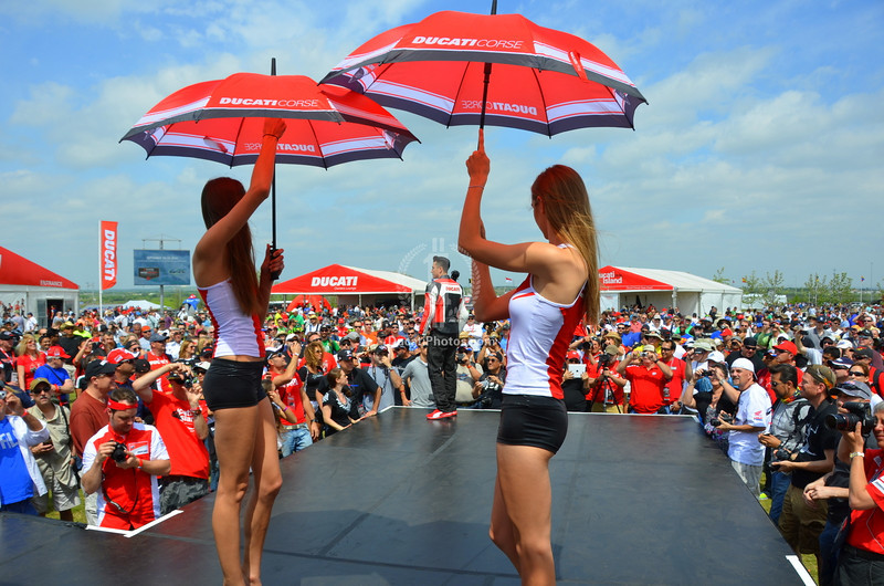 The energy of Ducati Island amps up considerally when DJ Hoppa cranks up the music and the models hit the stage for the fashion show.