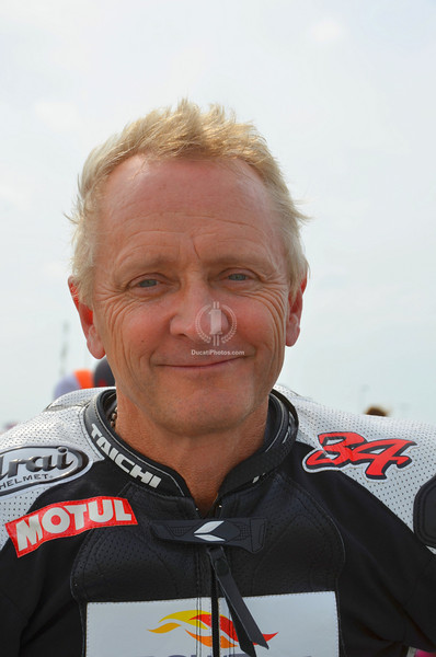 That's Kevin Schwantz who led the lap. In case you have been living under a rock he's the CotA track ambassador now
