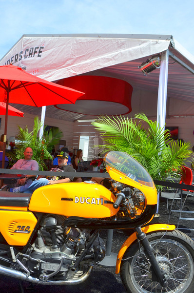 In the Riders Lounge VIP area there's a Ducati 750 Sport Bevel drive bike on display