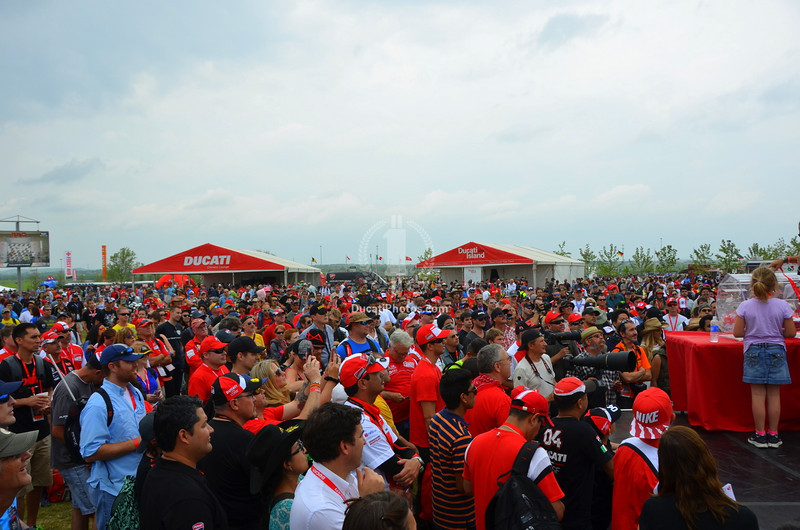 The entire Island is wall to wall people. I kept hearing the race turnout was low. Hard to believe at this moment standing on the stage, looking at this crowd waiting for the Ducati Team appearance