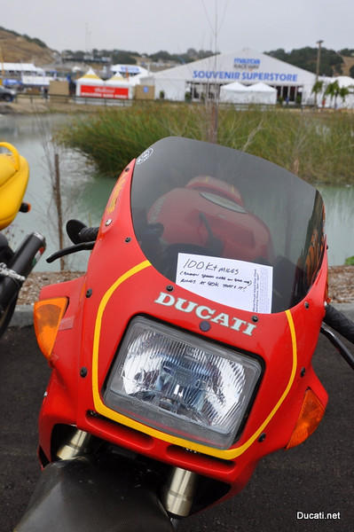 Ducati pride finds many ways to manifest itself, I loved this one --> 100,000 plus trouble free miles and it's owner wants everyone to know just how great and loyal a travel companion his Ducati has been