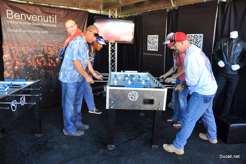 Taking a break from the racing action might mean a game of ping pong or foosball, lots of good ways to meet other Ducati owners (and kick some foosball butt at the same time) :-)
