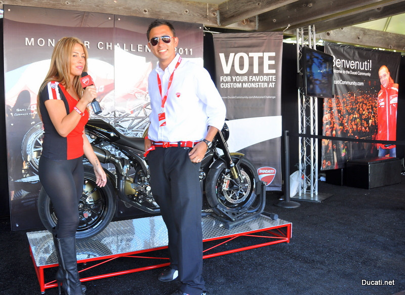 "That's Arrick Maurice, DNA's Advertising & Brand Manager and proud owner of that fabulous Monster in the background, getting interviewed for Ducati Island TV in the ""Ducati Community"" tent"