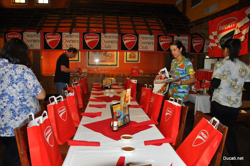 We get there early and set up for the group, Ducati.net throws the party with great swag courtesy of Ducati North America (Thanks!)